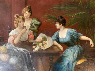 Antique S MEUNIER Signed Oil Painting