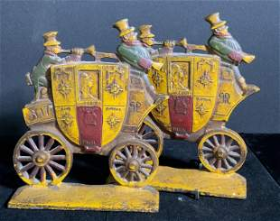 Pr NUYDEA Antique Painted Iron Stagecoach Bookends
