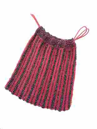 Vintage Seed Bead & Red Mesh Fabric Dancer's Purse