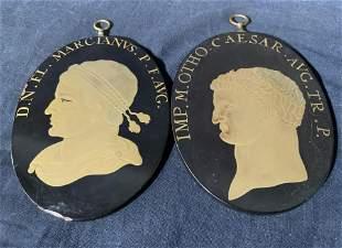 Pair Antique French Enamel & Metal Portraits