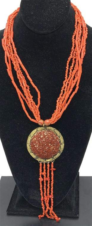 Bohemian Statement Coral Bead Style Necklace