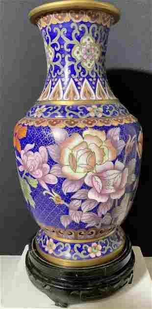 Vntg JingTai Cloisonne Famille Rose Vase on Base