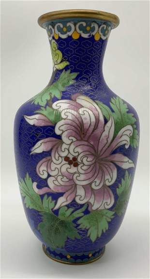 Asian Style Champleve Vase with Stand
