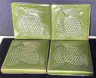 Set 4 Ceramic Tile Coasters Impressed Acorn
