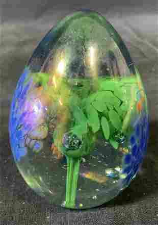 Signed Art Glass Floral Egg