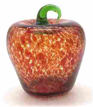 Hand Blown Art Glass Red Apple ornament