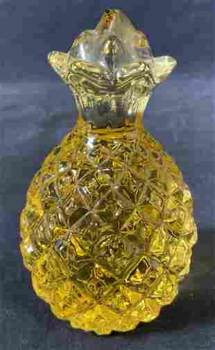 Amber Yellow Solid Art Glass Pineapple Paperweight