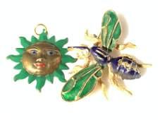 Enameled Sun Face Pendant, Bee Brooch