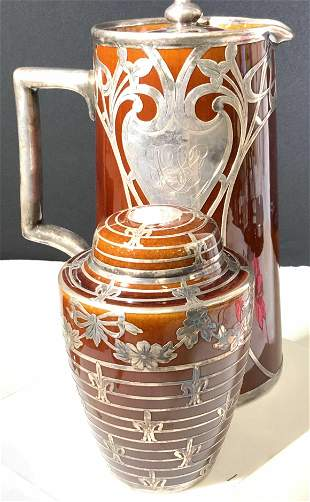 Early LENOX Ceramic & Silver Plated Cocktail Ware
