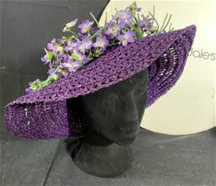 Vintage Bloomingdales Straw Hat w Flowers