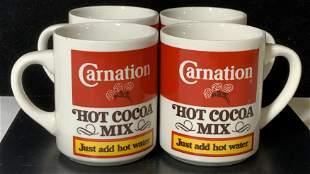 Set 4 CARNATION HOT CHOCOLATE Logo Mugs