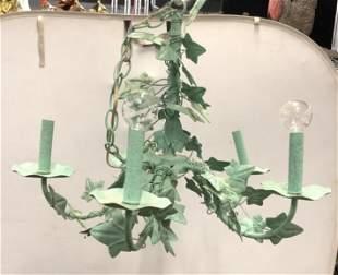 5 Arm Seafoam Vine & Leaf Metal Chandelier