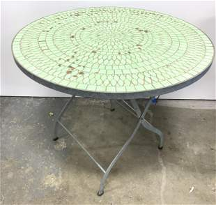 Outdoor Round Mosaic Tile Top Table