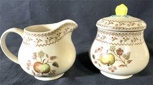 Lot 2 English Stoneware Creamer & Sugar