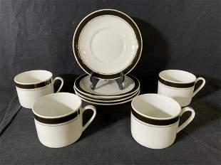 Set 8 CROWN PORCELAIN Teacups & Saucers