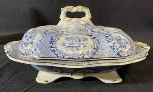 Ceramic Blue & White RIDGWAY Transferware Turren