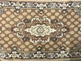 Vintage Handmade Fringed Wool Area Rug