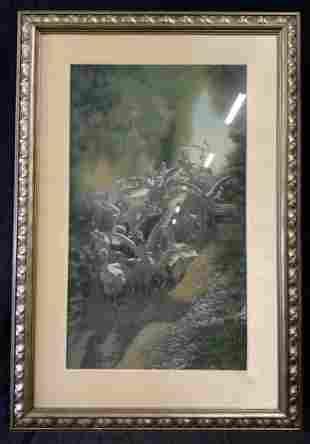 Framed Needlepoint Artwork of Geese