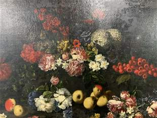 Oil on Canvas Still Life of Fruit and Flowers
