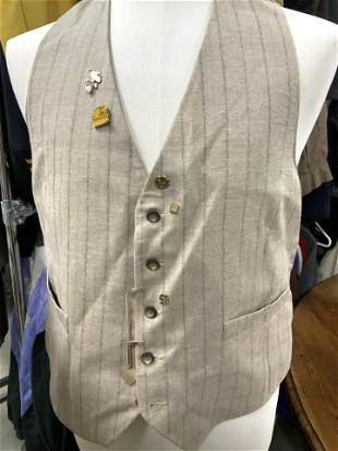 Vintage Wool Vest with Stripes, Men's Women's