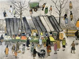 Signed Watercolor Painting, Market Scene