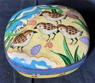 2 Painted Composite Material Lidded Trinket Boxes