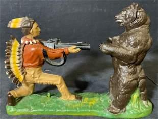 Vintage Bear & Hunter Figural Bank