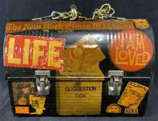 Vintage Decoupage Handled Metal Box