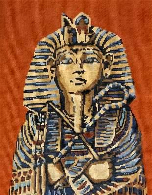 Framed Needlepoint Sarcophagus Artwork