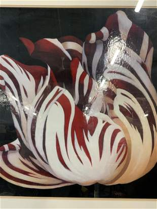 Offset Lithograph of Red Striped Tulip