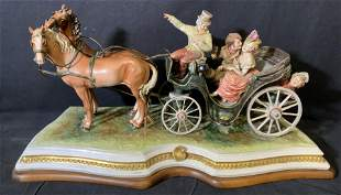 Porcelain Figural Horse and Carriage Statue