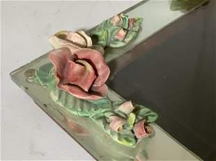 Antique Mirror & Porcelain Rose Frame/ Vanity