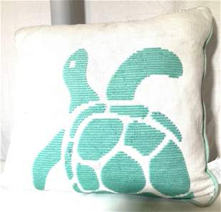 Down Feather Linen and Sequin Turtle Pillow