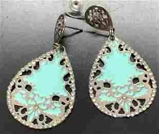 LK Enamel & Crystal Drop Earrings