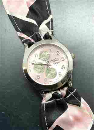 Signed Rachel Wassman Fabric Band Watch, Jewelry
