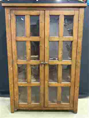 Vintage Windowed Wooden Bookshelf W 3 Shelves