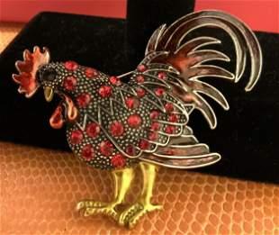 Crystal Rhinestone Enamel Rooster Brooch