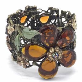 Floral Rhinestone Statement Bracelet, Jewelry