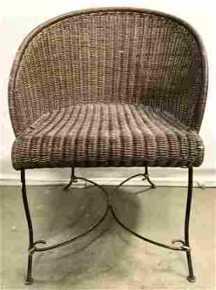 Woven Wicker Barrel Back Chair W Metal Frame