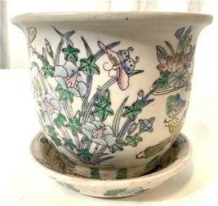 Vtg Paintd Porcelain Flrl Detail Planter & Saucer