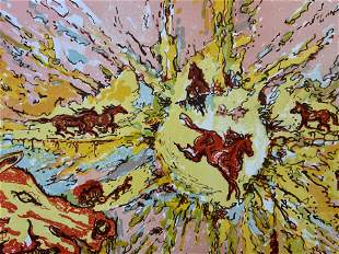 Signed Ltd Ed Abstract Lithograph with Horses