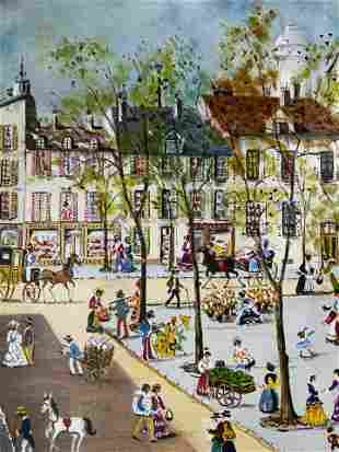 CLAUDE TALET Signed Street Scene Lithograph