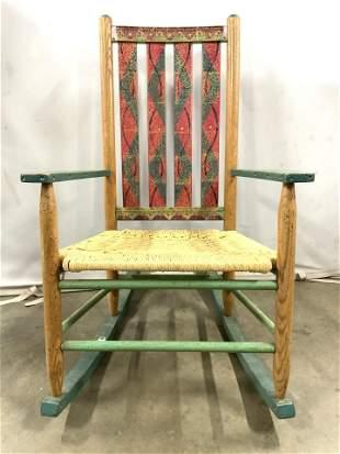Vintage Wooden Rocking Chair W Rattan Seat