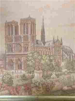 Framed Needlepoint of The Cathedral of Reims