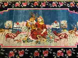 Vtg Handmade Wool Rug Depicting Animal Figures
