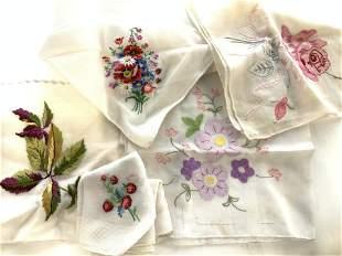 Lot Vintage Cotton Hankies w Embroidery