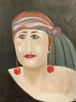 Monogrammed Acrylic on Canvas Portrait