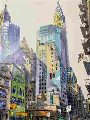 Colored Lithograph on Canvas City Scene