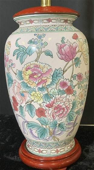 Famille Rose Porcelain Chinoiserie Lamp, China