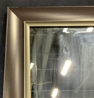 Dark Wood Beveled Mirror